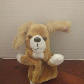 vintage midwestern home products tan puppy dog hand puppet plush
