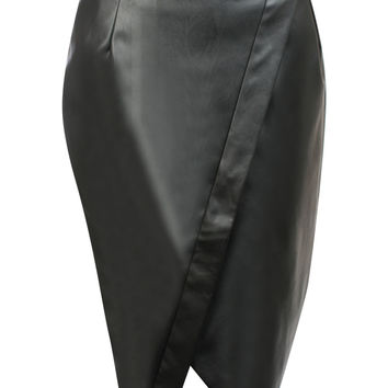 Nesta Faux Leather Wrap Pencil Skirt in Black