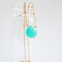 Kaimalie necklace  delicate gold chrysoprase by kealohajewelry