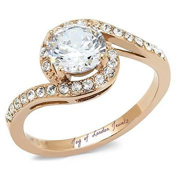 A Perfect 14K Rose Gold 1.2CT Russian Lab Diamond Ring  Cradled with Diamond Accents