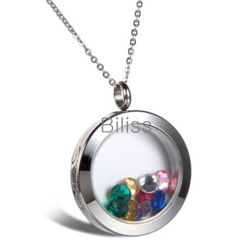 SHIPS FROM USA Multi Colored Crystal Floating Locket Memory Living Pendant Necklace For Women Ladies Round Frame 18 inch Chain Necklaces