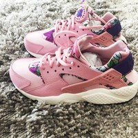 """NIKE""AIR Huarache Print Pink Ground Color Running Sport Casual Shoes Sneakers floral pink"