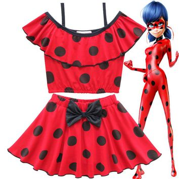 Miraculous Ladybug Halloween Cosplay Girls Boutique Outfits Mermaid Girls Set Beach Wear Baby Girls Swim Wear Baby Costume 2PCS
