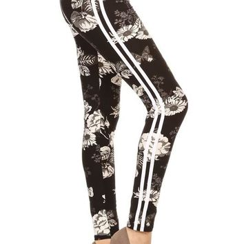 Floral Racing Stripe Yoga Style Leggings