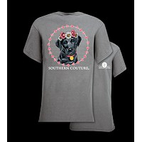 Southern Couture Flower Lab Dog Girlie Bright T Shirt