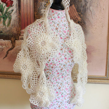 Crochet Ivory Wedding Shawl Scarf, Bridal Shawl, Wedding Shawl, Cover Up, Bridal Accessories, Bridesmaid Shawl, Lace Shawl, Bridal Wrap