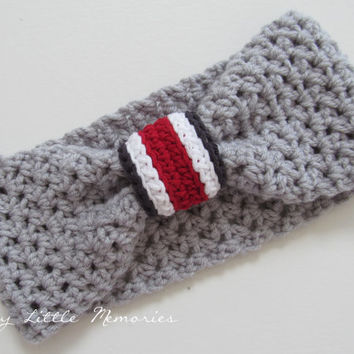 Ohio State Headband, Ohio State Buckeyes, OSU Women's Headband, OSU Head Warmer/Ear Warmer, Turban Head Warmer, Scarlet and Gray