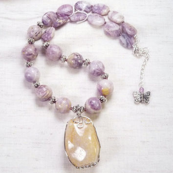Russian Charoite with yellow agate wire wrapped pendant necklace