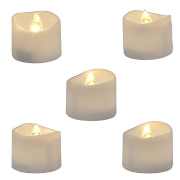 Homemory Realistic and Bright Flickering Bulb Battery Operated Flameless LED Tea Light for Seasonal & Festival Celebration Pack of 12 Electric Fake Candle in Warm White and Wave Open Dia1.4'' x H 1.3
