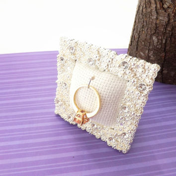 Ring Holder for Protection and Safety; Mini Sparkly Bling Frame, Gift Tin; for Engagement or Wedding Gift, Christmas Stocking Stuffer