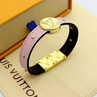 LV Louis Vuitton Newest Fashion Leather Bracelet Hand Catenary Jewelry Pink