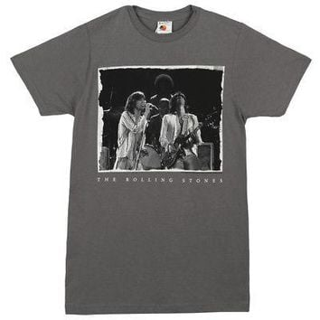 Rolling Stones Mick & Keith Live Photo Image Licensed Adult T-Shirt - Grey