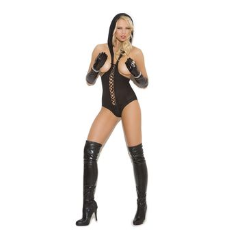 Vivace-EM-8869 Opaque cupless teddy with lace up front detail, hood and open back