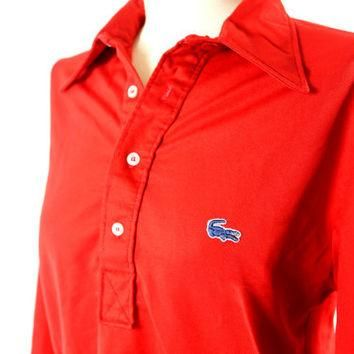vintage candy apple red lacoste top // size: M