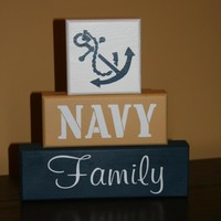 NAVY FAMILY Military Blocks Painted.. on Luulla