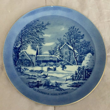 """Currier and Ives """"The Farmer's Home Winter"""" Collectible Blue and White Plate, 1970's Collector Plate"""