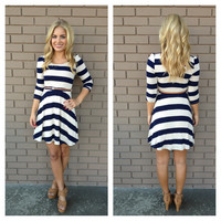 Navy Stripe Yacht Party Dress