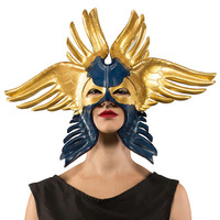 Blue and Gold Seraphim Leather Mask