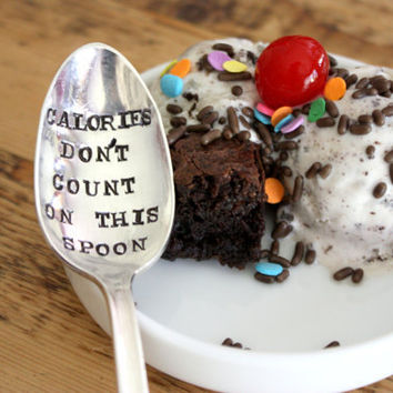 Calories Don't Count On This Spoon(TM) - Hand Stamped Spoon - Vintage Gift -  Every Day Vintage