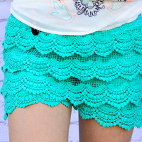 DREAMING OF LACE SHORTS IN TEAL
