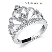 Dainty 925 Silver Princess Crown Ring, Gift for her, Anniversary Ring
