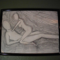 "Original Charcoal Drawing, Submission, 18 x 24"", Black Frame"