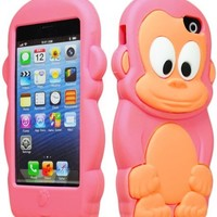 Bastex 3d Character Silicone Case for Apple Iphone 5c - Hot Pink & Tan Monkey