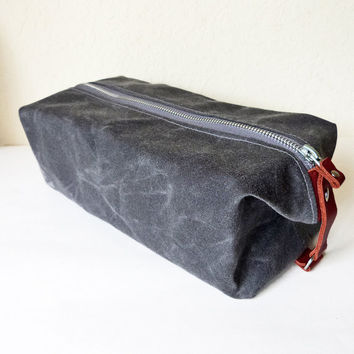 Waxed Cotton Canvas and Leather Dopp Kit in by SivaniAccessories