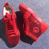 Christian Louboutin CL Rhinestone Style #1965 Sneakers Fashion Shoes Best Deal Online