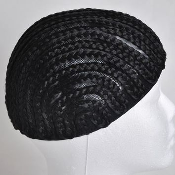 Braided Cap Crochet Synthetic Braids Wig Cap Fish Spun Net Base Glueless Weaving Wig Lace Caps 2pcs/lot Black Size S/M/L