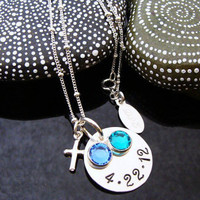 D2E sterling silver baptism christening necklace hand stamped date, birthstones, and cross charm