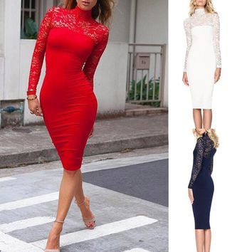 Sexy Solid Color Lace Dress Women Long Sleeves Lace Pure Color Tight Fitting Dress vestidos verano kleider damen elbise C