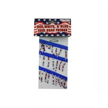 VOND4H Red White And Blue Seed Bead Fringe