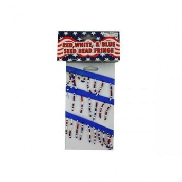 ONETOW Red White And Blue Seed Bead Fringe