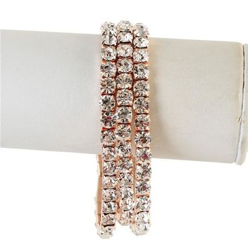 rose gold crystal stretch arm cuff bangle bracelet bridal prom