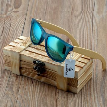 BOBO BIRD Transparent Blue Square Sunglasses Women Bamboo Wood Sun glasses