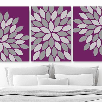 Eggplant Purple Gray Flower Bedroom Canvas or Print, FLOWER Wall Art, Eggplant Purple Gray Flower Bathroom Wall Decor, Set of 3 Art Pictures