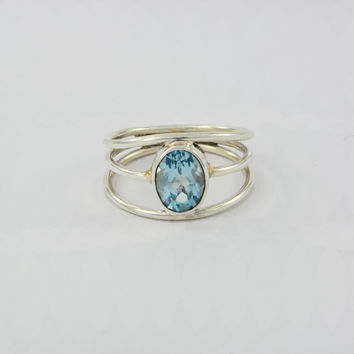 Handmade Modern Style 925 Silver Sky Blue Topaz  Faceted Silver Rings for Her | Sagittarius Birthstone Mothers Day Gift