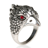 Eagle Head Silver Alloy Ring With Red/Black Crystals