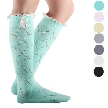 High Knee Socks Straight Tube Stockings Set Knee High Socks Long Knitting Warm Over Knee Socks Medias Pantyhose Female Stockings