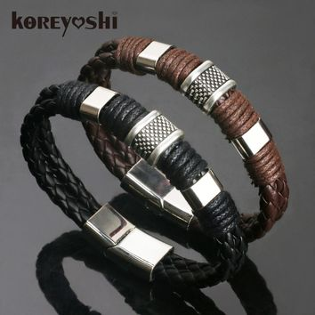 new Jewelry Punk 2 color Zinc Alloy Accessories Weave Genuine leather Men braided Bracelet male Bangles pulseras hombre