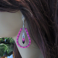 Beaded Tear Drop Hoop Dangle Drop Earrings With Beaded Feather Dangle In Pink and Purple/Feathers/Hoop Earrings/Pink Earrings/Purple