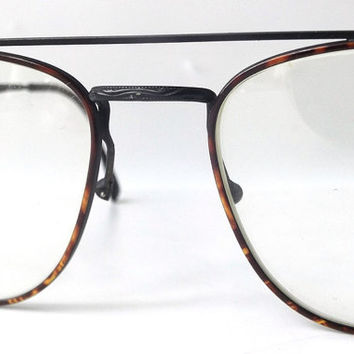 vintage 90s square double bridge eyeglasses metal frames matte black tortoise shell men retro modern glasses eyewear fashion used italy