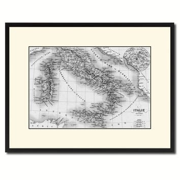 Italy Rome Vintage B&W Map Canvas Print, Picture Frame Home Decor Wall Art Gift Ideas