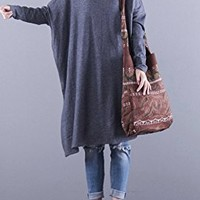 Women's Knitted Cotton Dress Casual Loose Fitting One Size