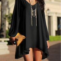 Black V-Neck Cut Out Long Sleeve Chiffon Dress