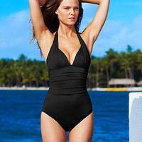DKNY Ruched Halter One-Piece Swimsuit