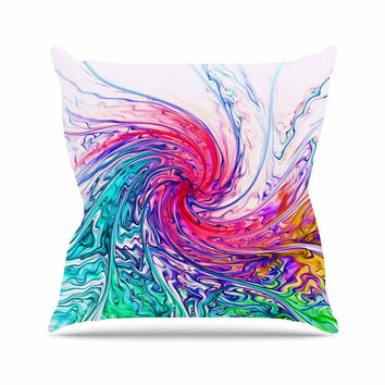 "Alison Coxon ""Colour Wave"" Teal Fantasy Outdoor Throw Pillow"