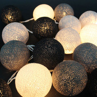20 Lighting Gray Clound Tone Cotton Ball String Lights Ideal for Christmas Lights, Party Lighting, Bedroom Decor