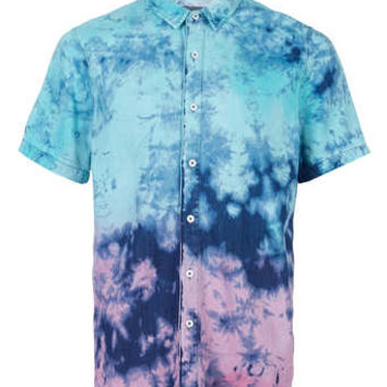 AQUA AND PINK TIE DYE SHORT SLEEVE DENIM SHIRT - Short Sleeve Shirts - Men's Shirts  - Clothing